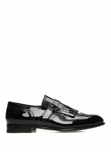 Santoni %100 Deri Çift Tokalı Ayakkabı Siyah